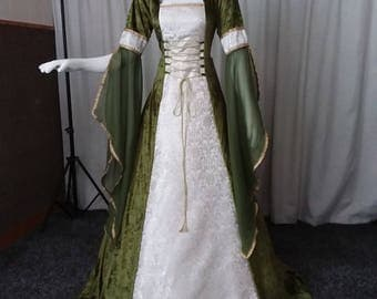 Medieval renaissance clothing, Celtic wedding dress, fae dress, woodland dress, elven dress, wedding dress, olive green dress, hooded dress