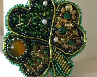 Jewelry embroidery  sead beaded Brooch  Magical Green Agat Leaf