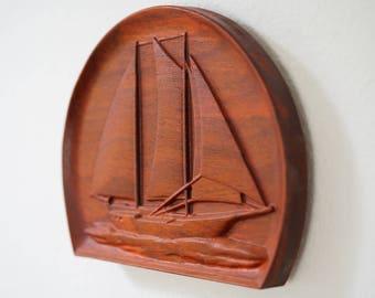 Sail Boat African Padalk Wood