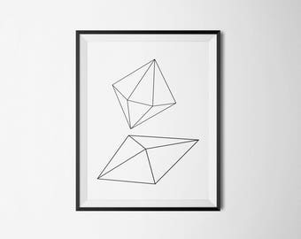 geometric, diamond, shapes, line, wall art, home print, minimal, bedroom, study room, artwork