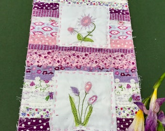 Purple Flower Scrappy Mini Art Quilt Wall Hanging. Textile Art