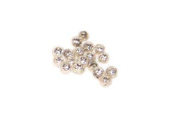 4mm Round Silver Filigree Metal Beads, approx. 65 beads