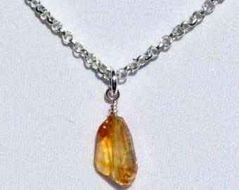 Natural Citrine  Gemstone Pendant Necklace!