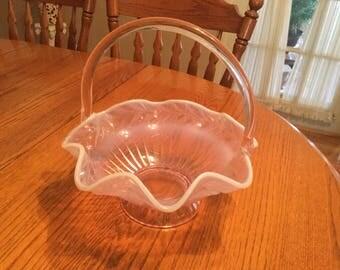 Vintage  tiara pink basket bowl ,Indiana glass