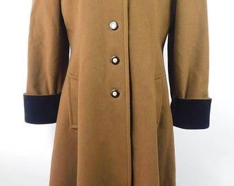 30% OFF VDAY SALE Vintage 1950s 50s International Scene Brown Black Wool Velvet Collar Trench A Line Long Sleeve Jacket Coat Sz 5/6 Small