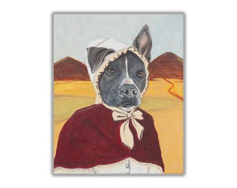Custom Pet Portrait • 1 Pet • Dog Portrait • Dog Painting • Silly Pet Portrait • Pioneer Dog •  Pitbull Painting • Pitbull • Free Shipping!
