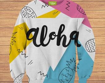 TeenMango Colorful Aloha Sweater (fullprint, colorfull) free worldwide shipping