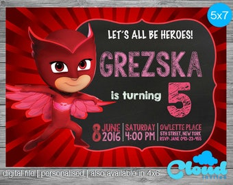 Owlette Invitation, Owlette, PJ Masks Invites, Pj Masks Invitation, Owlette birthday invitation, Pj masks party, Birthday Printables