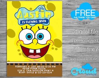 Spongebob, Spongebob Birthday Invitation, Spongebob Party, Birthday Printables