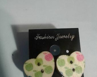 Wooden button heart earrings 2