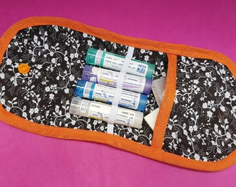 Orange black homeopathy for 4 tubes granules and medicine pouch case