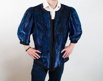 Vintage Large Iridescent Blue Magician Top / Tinsel-like Sparkly Puffy Shoulders Slim Waisted Button up Opera Rockstar Costume Shirt