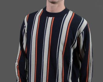 Vintage Striped Sweater / Large Blue, white and Orange Pullover / Mens Geometric Acrylic Sweater / Fanar Sweater Made in S.A.R