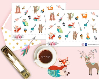Boho Animals Sticker, Boho Planner Stickers, Boho Style Sticker, 22 Stickers, Forest Animal Scrapbook Sticker, Planner Stationary Accessory