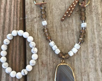 Agate Stone with Studded Cord