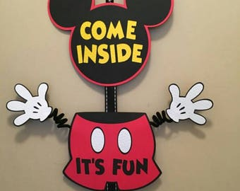 Mickey Mouse Birthday Door Sign...Mickey mouse birthday party..minnie mouse birthday door sign...Disney birthday party..birthday sign.