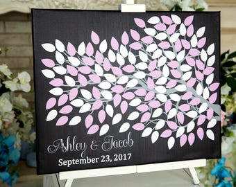 Wedding guest book Canvas Guest book Alternative Wedding Tree Guest Book Wedding Guest Book Wedding Guestbook Wedding gift for couple