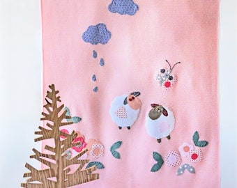 Knitted baby blanket, knitted toddler blanket, for crib and nursery bed, for baby shower, designed with fabric appliques, baby gift