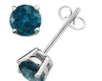 0.20 CTW Round Blue Diamond Solitaire Stud Earrings In 14K Gold