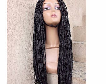 Synthetic hand braided 3-part lace closure wig/ Fully hand braided glueless wig/ Senegalese twist Braided Wig/ Ghana Braids Wig