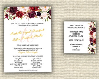Beautiful Reds Floral Wedding Invitations Printed