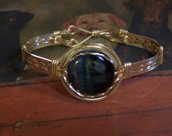 Oeil de tigre bleu et d\u0027or remplissent Bracelet