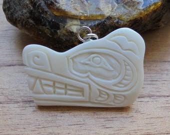 Bear Head Bone Pendant, Bear Northwest Coast, Bali Bone Carving NWC 8