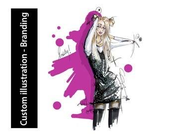 Custom fashion illustration, digital art - Branding
