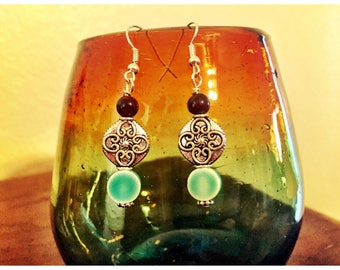 Artisan Green and Purple earrings