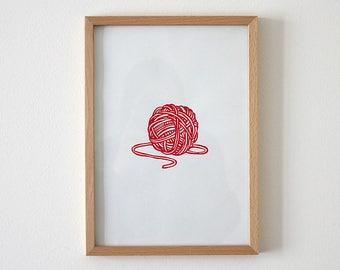 Ball of wool, thread, screen printing, printing, print, art, original