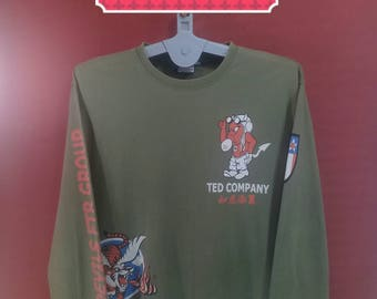 Vintage Ted Company Shirt Army Air Force Fighting Sweatshirt Spellout Shirt Green Colour Size 46 Camo Shirt Air Force Shirt Military Tedman
