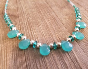 Beaded Necklace, Handmade Necklace, Vintage Style Necklace, Ocean Green, Emerald Sea, Boho Chic, Green and Silver