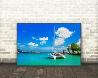 Sailboat in a Lagoon Canvas Art
