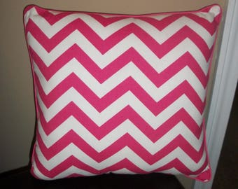 Pink and White Chevron Pillow