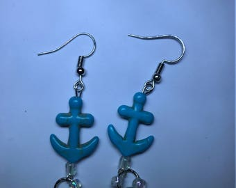 Turquoise anchor and clear bead dangle handmade earrings