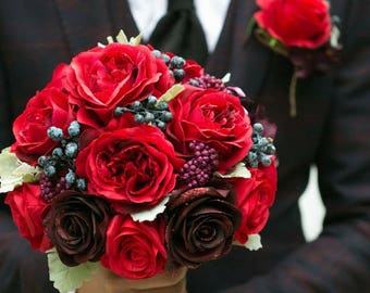 Red Rose silk flower bridal wedding flower bouquet
