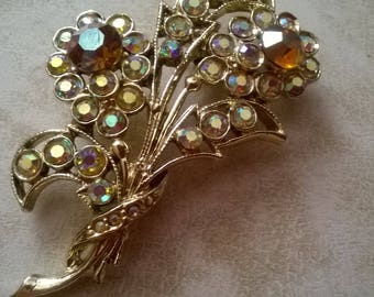 Aurora borealis rhinestones flower brooch