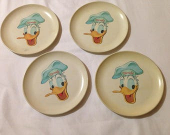 Vintage Donald Duck Westinghouse Melmac Childs Plates - Cira 1960's - set of 4