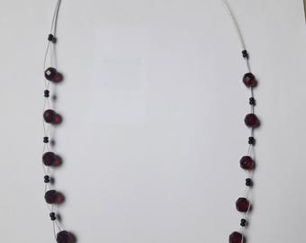 Wire and red glass bead necklace
