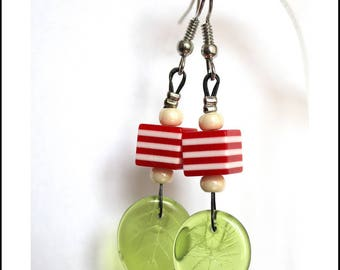 Earrings red cubes and green leaves