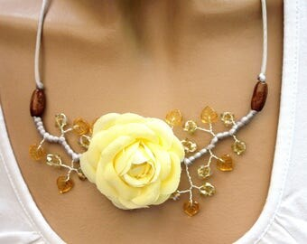Yellow flowers and Topaz necklace