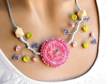 Flowering branch pomponette fancy pink and blue necklace.