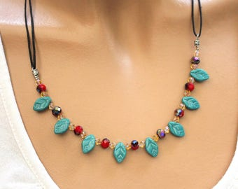 Necklace blue leaves and black waxed cotton cord