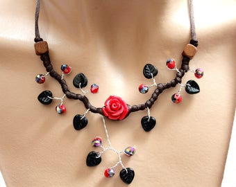 Necklace red and black floral