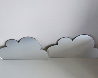 Cut acrylic mirror, different shapes, clouds, house,