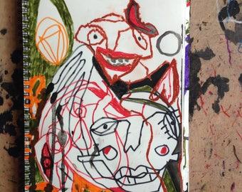 Friedrich Schröder Sonnenstern- Figurative Kunst, Abstrakte Expressive Kunst, Moderne Zeichnung, Portrait Intuition