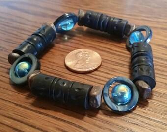 Wood, Shell, and Glass, Bead Bracelet