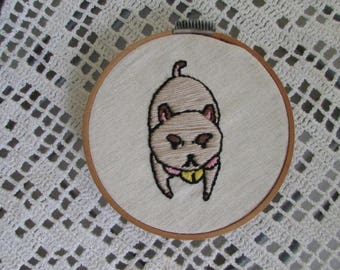 "Frame with handmade embroidery ""Puppy very angry"""