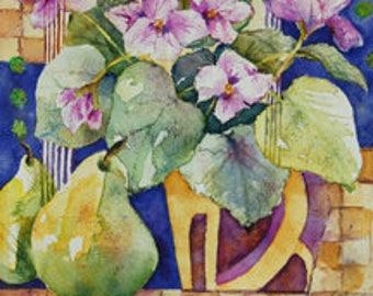 Pansies & Pears Original Watercolor