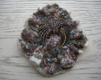 brooch felt beige felt with natural silk
